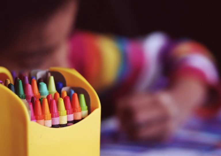 crayons, coloring, child
